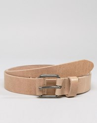 Asos Leather Belt With Coated Keeper Beige