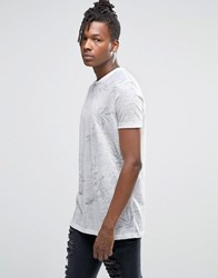 Asos Longline T Shirt With Subtle Floral Print In Linen Look White