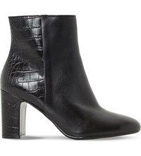 Dune Opel Reptile Embossed Leather Ankle Boots Black Leather Mix