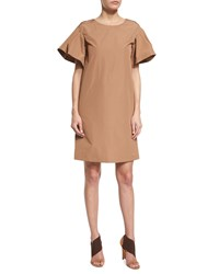 Agnona Ruffle Sleeve Cotton Shift Dress Phard Brown Women's