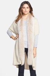 Sofia Cashmere Genuine Fox Fur Trim Cashmere Knit Cardigan Beige