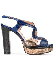 L'autre Chose Platform Sling Back Sandals Blue