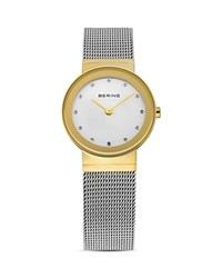Bering Classic Two Tone Mesh Strap Watch 26Mm Silver