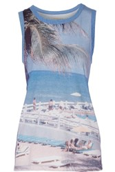 Current Elliott The Muscle Printed Jersey Tank Blue