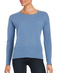 Lord And Taylor Long Sleeve Cashmere Pullover True Blue Heather