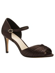Phase Eight Nina Pleated Satin Sandals Brown