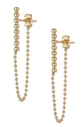 Candela 10K Yellow Gold Milgrain Bar Chain Drop Earrings Metallic