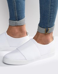 Asos Slip On Trainers In White Mesh With Elastic Strap White