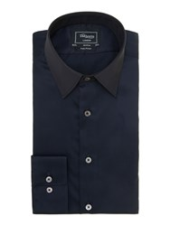 T.M.Lewin Plain Slim Fit Long Sleeve Classic Collar Shirt Navy