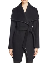 Elie Tahari Natasha Leather Trim Wrap Coat Black