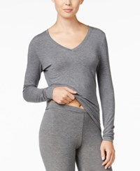 Cuddl Duds Softwear Long Sleeve V Neck Top Charcoal Heather