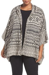 Lucky Brand Plus Size Women's Hooded Snap Front Jacquard And Terry Poncho Black Multi