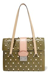 Red Valentino Redvalentino Embellished Leather Shoulder Bag Army Green