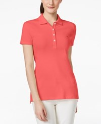 Tommy Hilfiger Solid Polo Top Calypso Coral