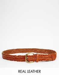 New Look Leather Plaited Jeans Belt Tan