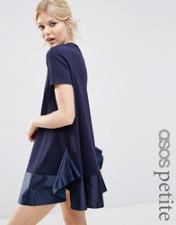 Asos Petite Premium T Shirt Dress With Satin Frill Pephem Navy