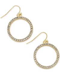 Abs By Allen Schwartz Gold Tone Crystal Pave Circle Drop Earrings