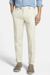 Bonobos Slim Fit Cotton And Linen Trousers Beige