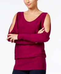 Thalia Sodi Chain Back Cold Shoulder Sweater Only At Macy's Violet Berry