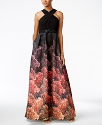 Adrianna Papell Jersey Printed Halter Gown Black Multi