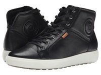 Ecco Soft Vii High Top Black Black Women's Lace Up Casual Shoes