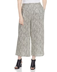 Eileen Fisher Plus Snake Print Cropped Wide Leg Pants Natural