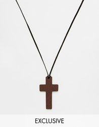 Reclaimed Vintage Cross Necklace In Black