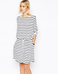 Gestuz Tie Waist Dress In Stripe Navywhite