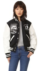 R 13 Vintage Varsity Jacket Black With Ecru