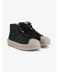 Rick Owens X Adidas Mastodon Pro Model Leather Sneakers Black Taupe Clotted Cream