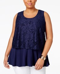 Ny Collection Plus Size Layered Look Lace Tank Top Navy Daisy