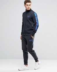 Emporio Armani Ea7 Tracksuit Set With Stripe Sleeve In Navy Navy