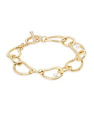 Saks Fifth Avenue Faux Pearl Link Bracelet Gold