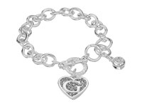 Guess Round Link Toggle Bracelet With Heart And Logo Charms Silver Crystal Bracelet