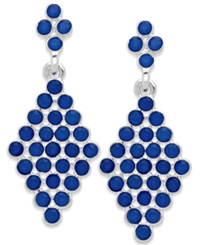 Style And Co. Silver Tone Blue Stone Kite Drop Earrings