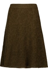 M Missoni Stretch Knit Jacquard Skirt Army Green