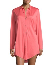 Hanro Cotton Deluxe Boyfriend Sleepshirt Grapefruit