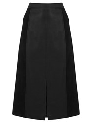 Oasis Suedette And Faux Leather Midi Skirt Black