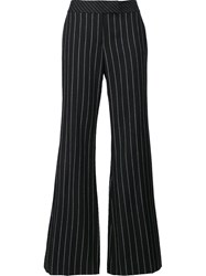 Rachel Zoe Pinstripe Flared Trousers Black