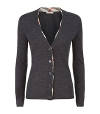 Burberry Check Trim Wool Cardigan Female Black