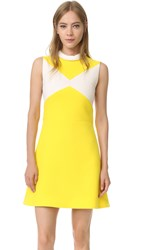 Victoria Beckham Tie Back Dress Acid Yellow Ivory