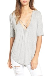 Lush Women's Cross Front Oversize Tee Heather Grey