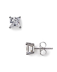 Crislu Faceted Princess Cut Stud Earrings 1.5 Ct. T.W. Silver
