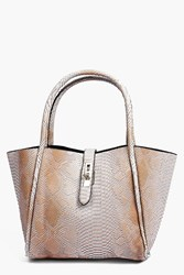 Boohoo Faux Snake Winged Structured Day Bag Taupe