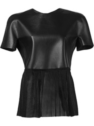 Yang Li Sheer Bottom Round Neck Top Black