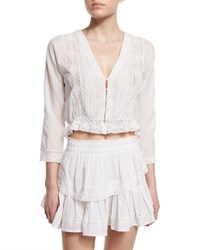 Loveshackfancy Victorian Cropped Blouse With Lace Inset Women's White