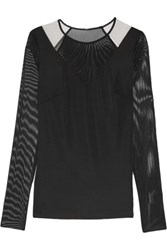 Bailey 44 Mesh And Stretch Jersey Top Black