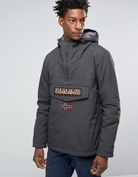 Napapijri Overhead Hooded Jacket Nylon Padded Dark Grey Solid