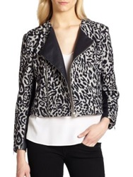 Laveer Leather Trimmed Leopard Print Wool And Cotton Jacket Pale Grey Multi