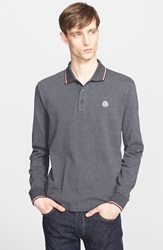 Moncler Tipped Long Sleeve Polo Charcoal Grey